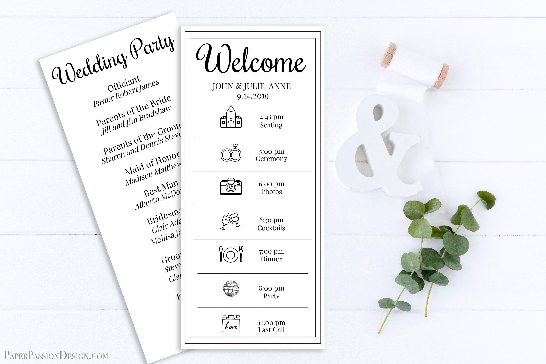 Wedding Program & Timeline, Event Schedule, Simple Cursive