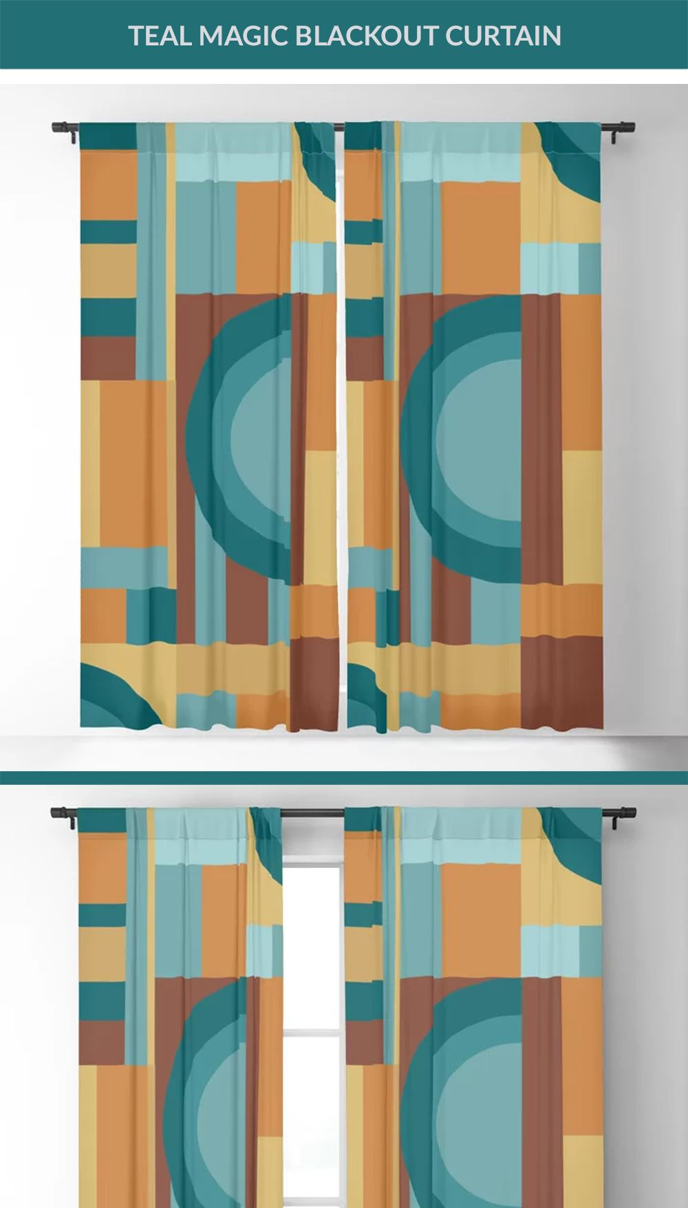 Make your homedecor uniqoue with these geometric teal Blackout Curtain. Available in either single or double panel options. Get yours now. Click the link to buy now. #homedecor #curtains #curtain #curtainwall #curtainsdesign #curtaindesign #blackoutcurtains #floralcurtains #society6
