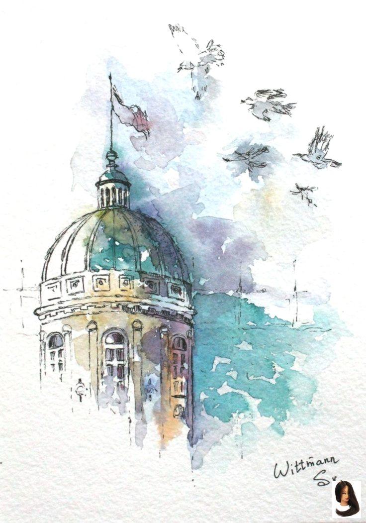 Original Watercolor Sketch 15x21 Cm Aquarell Architektur