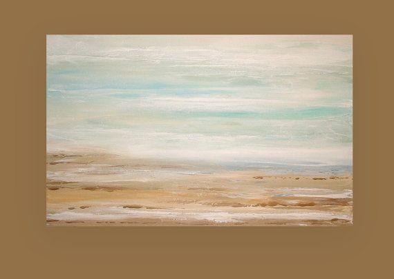 Plage Art paysage marin Shabby Chic Original par OraBirenbaumArt