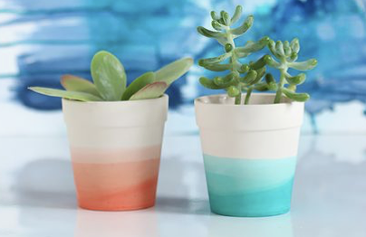 DIY Painted Terra Cotta Pots - at home with Ashley