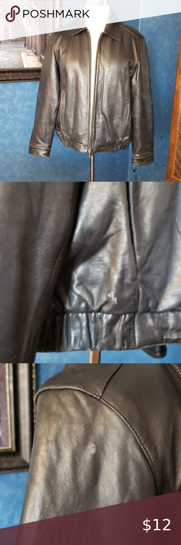 Mens Covington Leather Coat Jacket L See Pictures For Condition There Are A Few Small Flaws In The Leather Zipper W Leather Coat Jacket Leather Coat Jackets [ 1740 x 580 Pixel ]