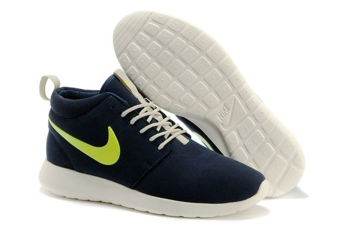 Nike Roshe Run High Cut Mens Shoes Blue Green   Footwear