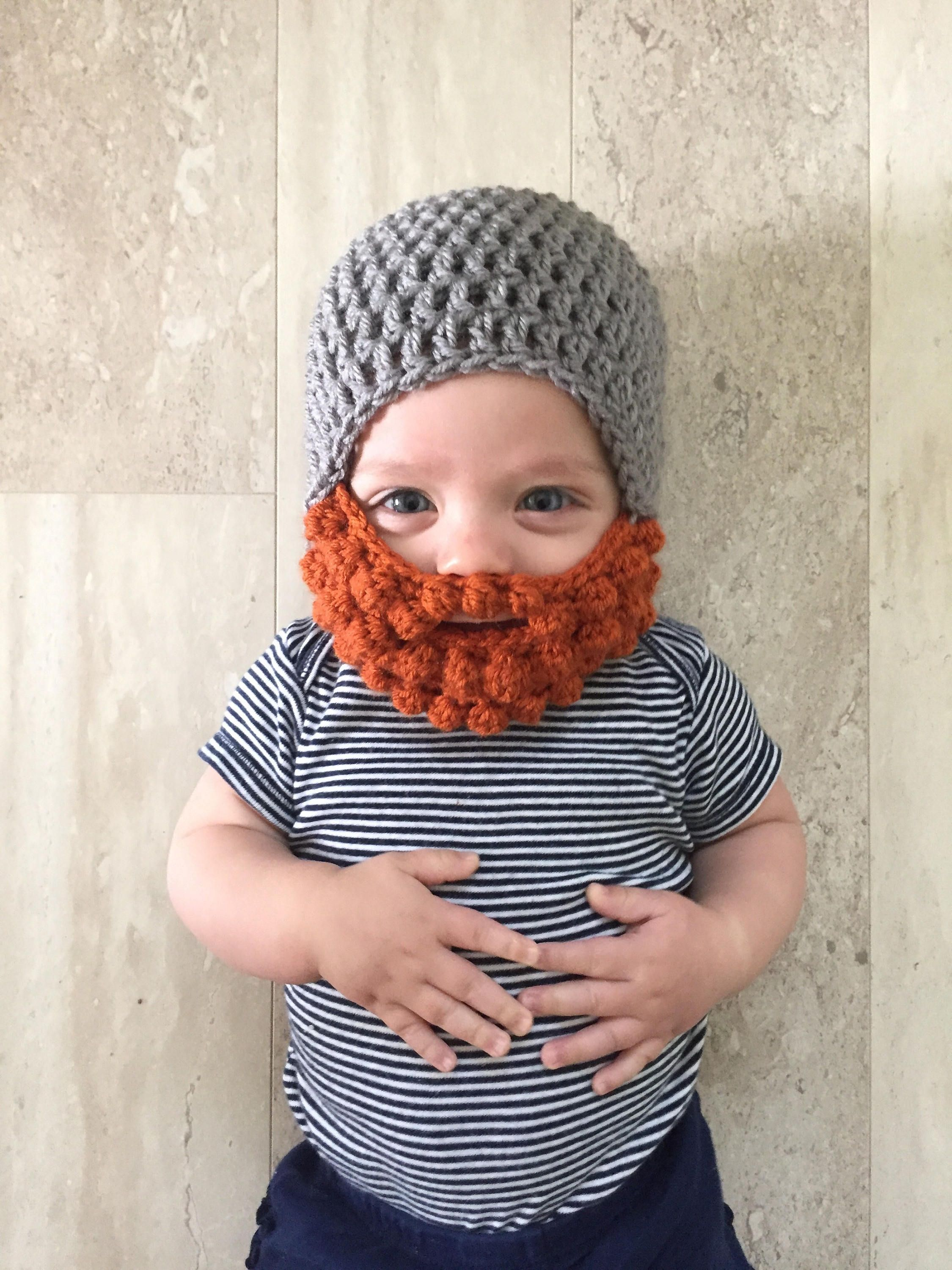 Ginger Beard hat, Crochet baby beard hat, beard hat, baby boy hat ...
