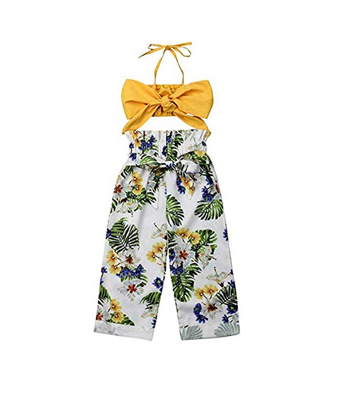 Toddler Baby Girls Ruffle Strap Crop Tops+Bowknot Floral Long Pants Outfits Clothes Two Piece Set