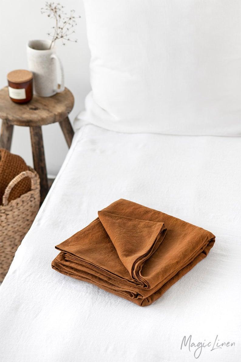 Linen flat sheet in Cinnamon. Custom size bed sheets