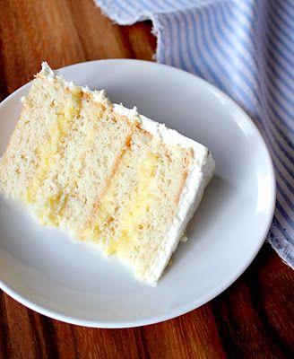 Tender White Cake filled with Lemon Custard