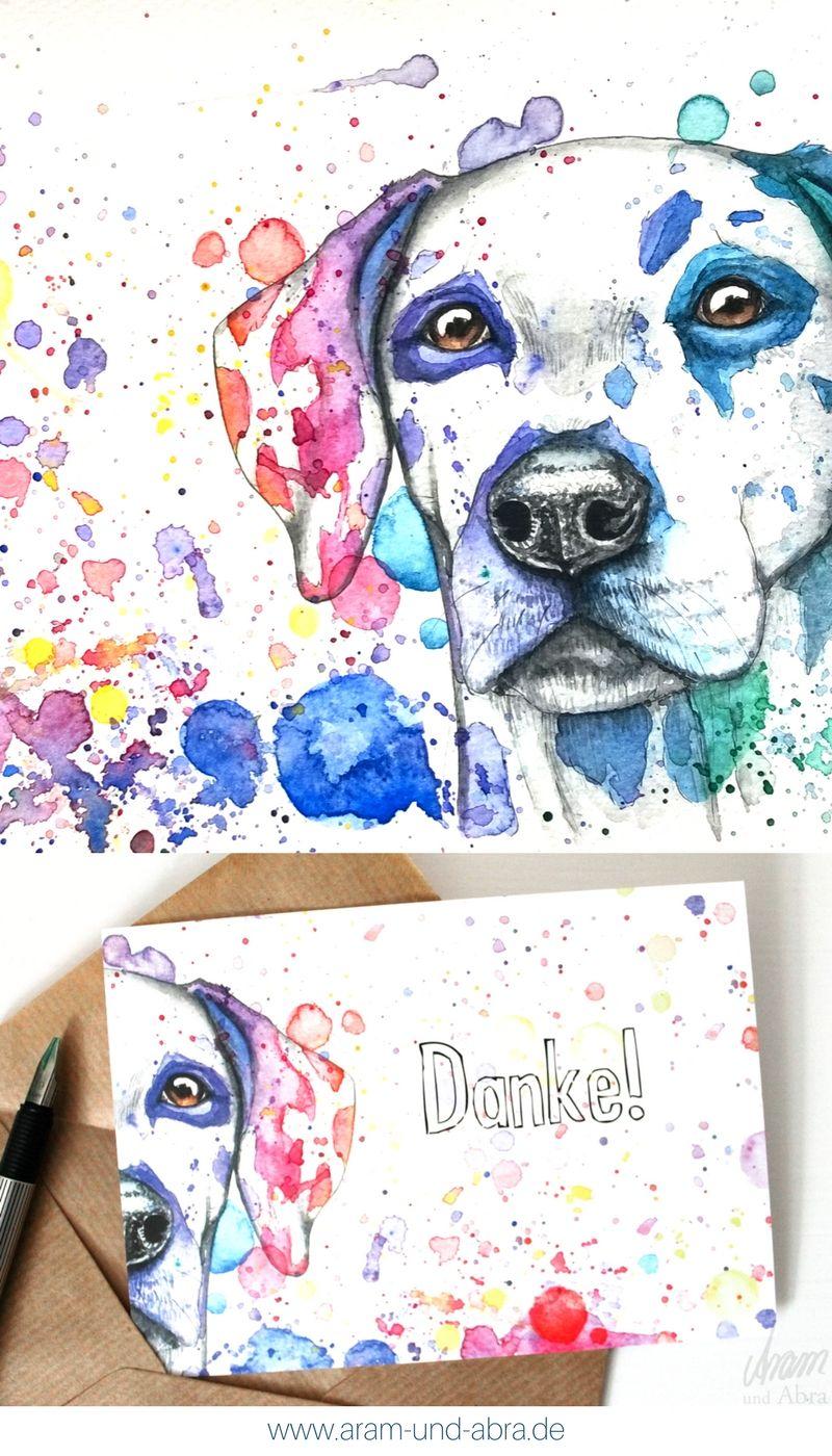 Illustrationzeichnung Aquarell Hund Dalmatiner Postkarte Danke