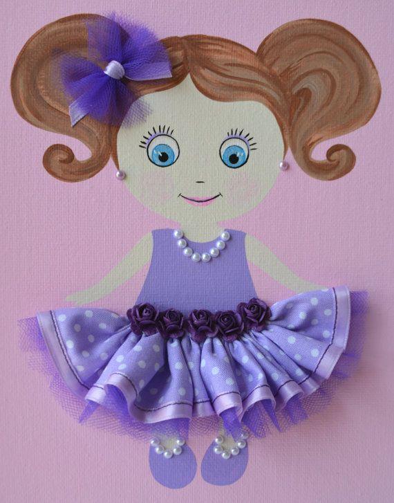 Muñeca personalizada hecha a mano de 9 X 12 enmarcado lona placa de ...