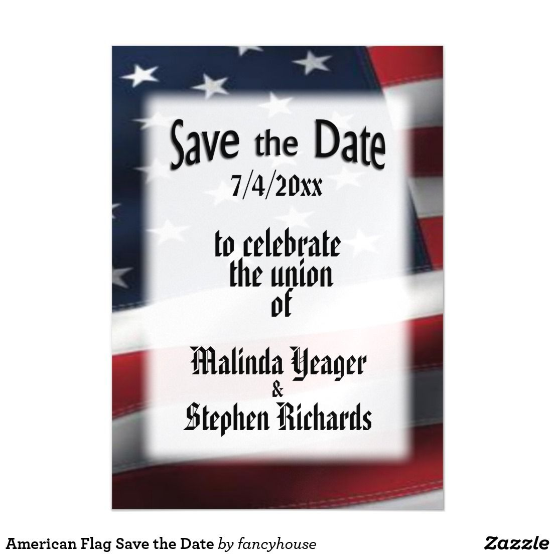 American flag save the date magnetic card wedding invitations american flag save the date magnetic card kristyandbryce Images