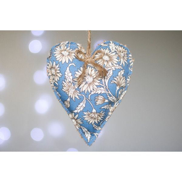 Burlap hanging heart, rustic decor, decoration, appliqued heart, blue... ($4.39) ❤ liked on Polyvore featuring home, home decor, wall art, floral home decor, blue home decor, blue home accessories, heart home decor and burlap home decor