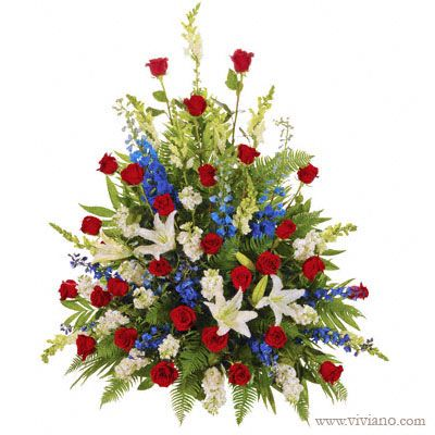 Patriotic Side Piece Rose Flower Arrangements Church Flower Arrangements Blue Flower Arrangements