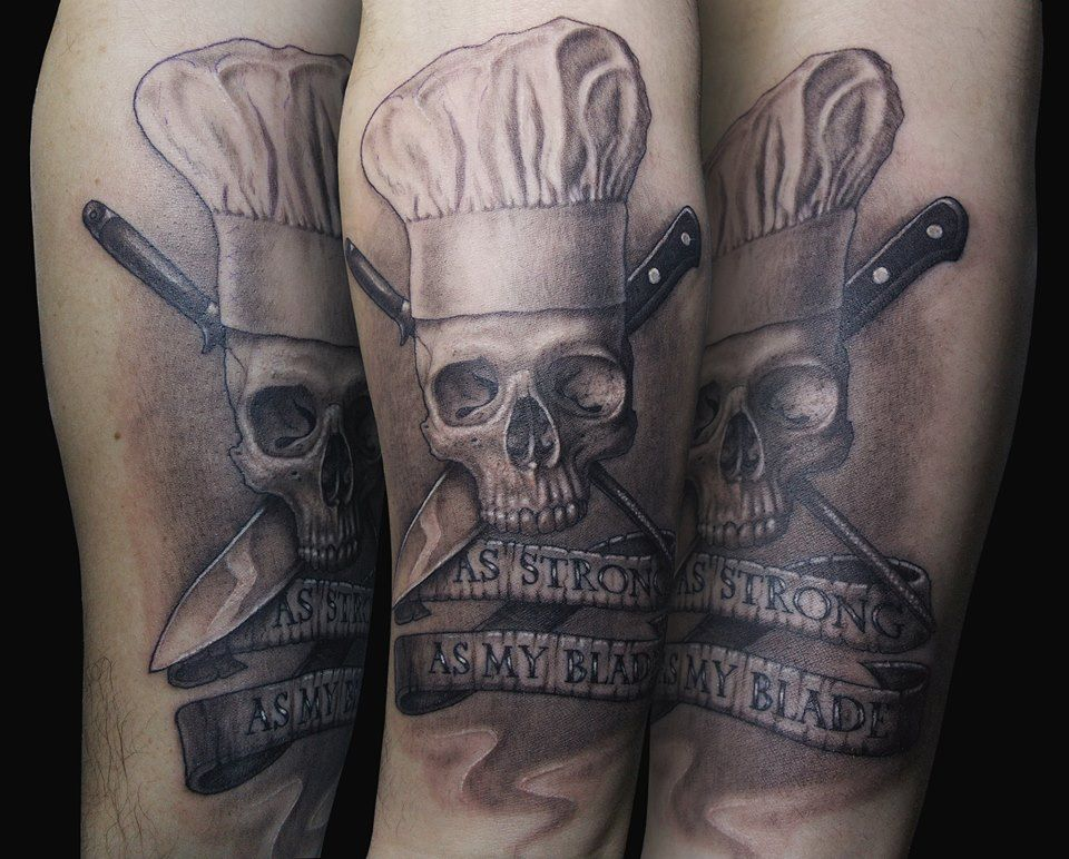 as strong as my blade chef skull tattoo skulls pinterest blade tattoo and chef tattoo. Black Bedroom Furniture Sets. Home Design Ideas