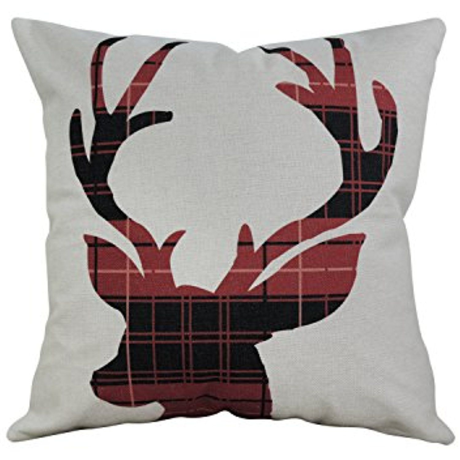pillows included pin head stag burlap deer throw insert pillow