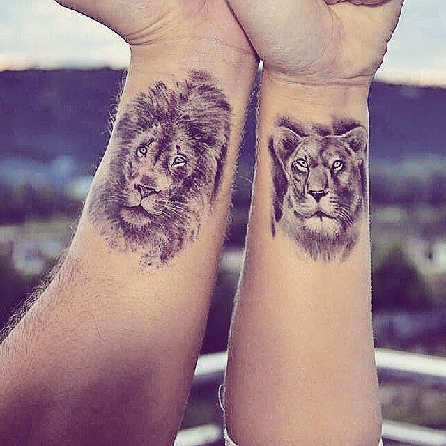 bildergebnis f r lion couple tattoos tattoo partner. Black Bedroom Furniture Sets. Home Design Ideas