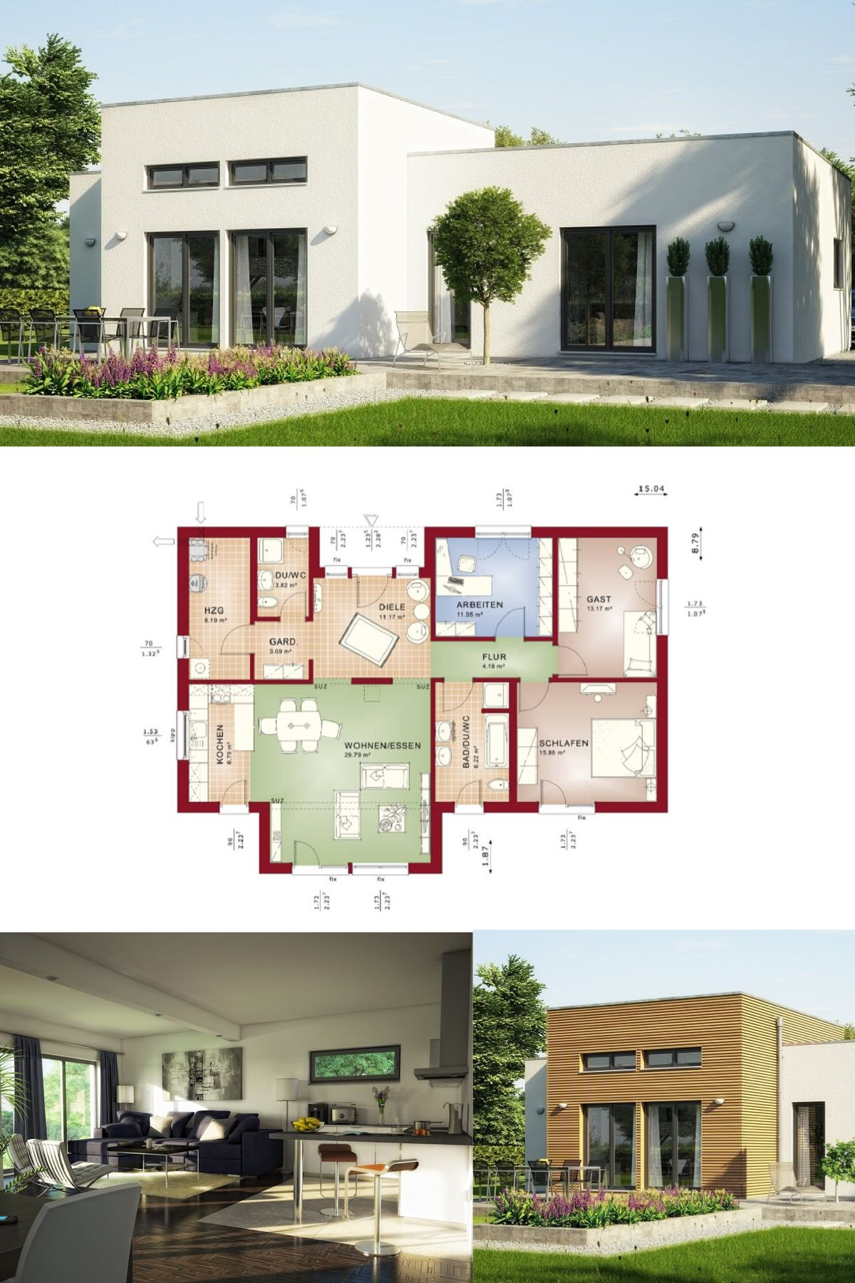 Moderner BUNGALOW Bauhausstil Haus Evolution 111