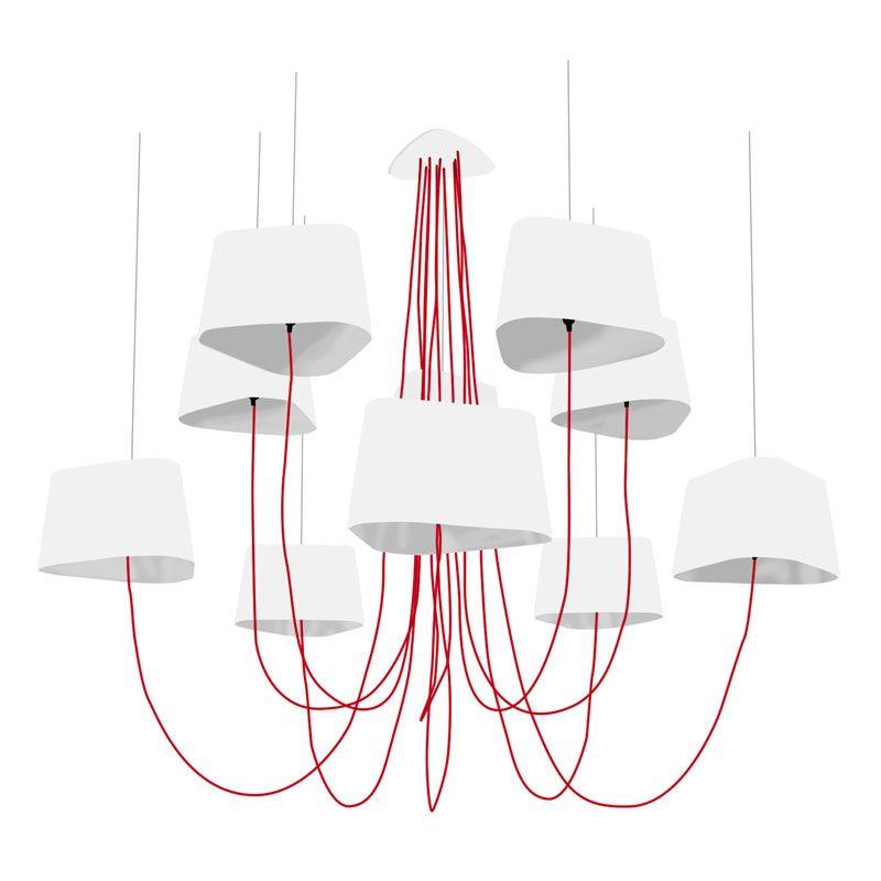 grand nuage lustre xl 10 lumi res blanc argent suspension designheure design par herv. Black Bedroom Furniture Sets. Home Design Ideas