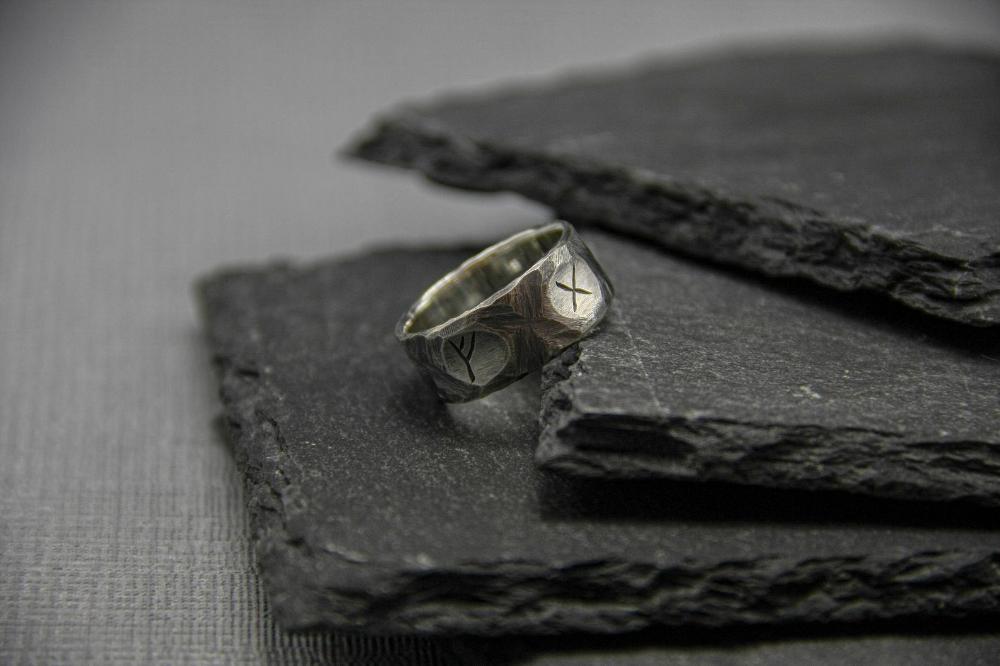 Viking rune ring for men, Sterling silver band