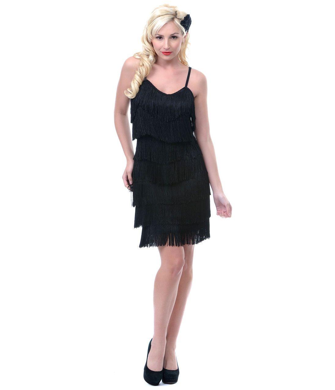 Classic 1920s Style Black Fringe Flapper Dress :: Unique