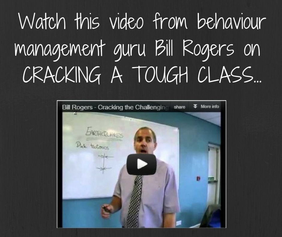Does your class make you want to go into the cupboard and scream?!  Watch this video by Bill Rogers for advice, tips and strategies on managing behaviour.