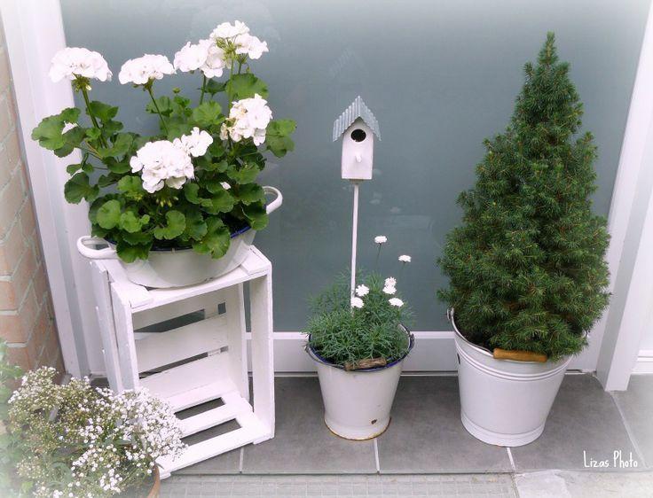 Photo of Sommer dekorasjon foran huset blomster | Hageinnredning, julepynt, balkongideer