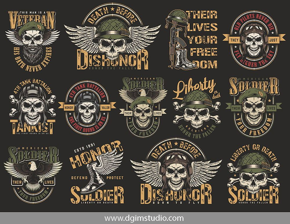 Vintage Military Emblems Collection Military Graphics Vector Design Vintage Military