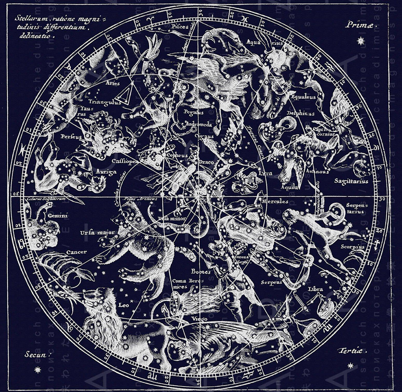 Stunning 19th C Celestial Print Northern Sky