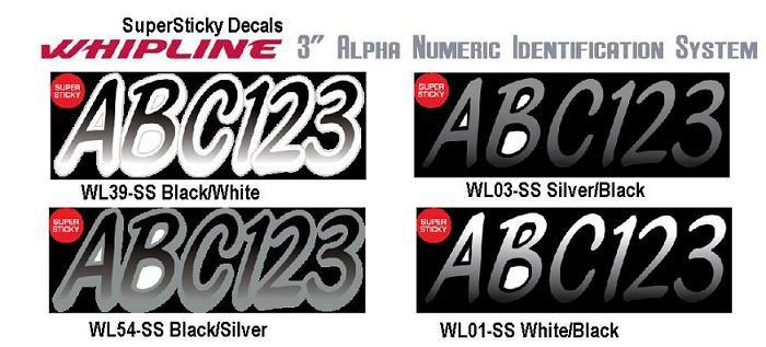 STIFFIE Whipline WL01 Boat PWC Numbers Decal Registration SEADOO  WHITE BLACK