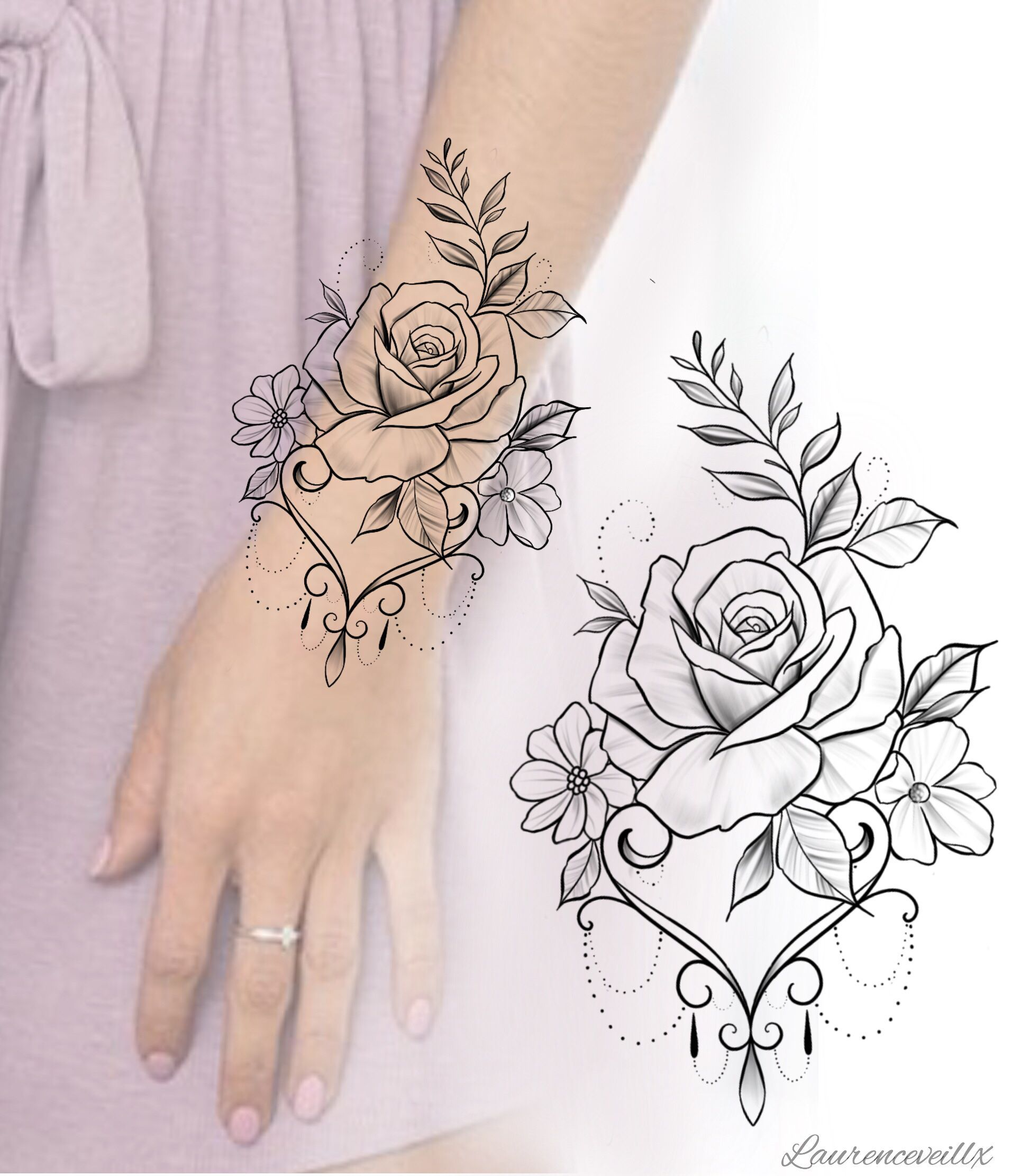 Flower Rose Tattoo Design Available For Instant Download Etsy Laurenceveillx Tattoodesigns Th In 2020 Rose Tattoo Design Hand Tattoos For Women Mandala Tattoo Sleeve