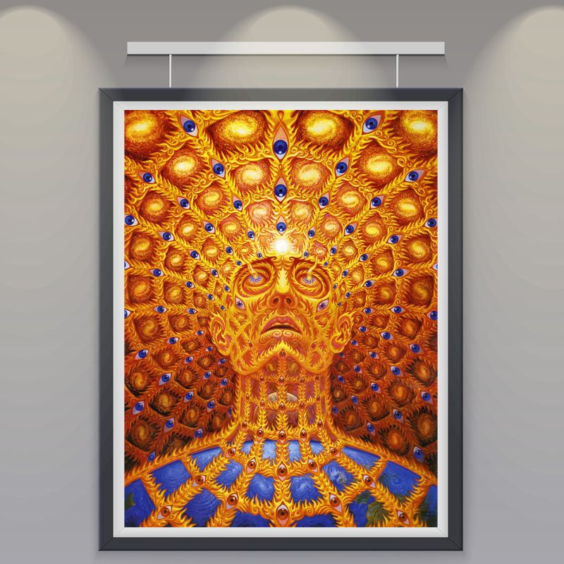 Trippy Alex Grey Art Silk Fabric Psychedelic Poster Print Classic