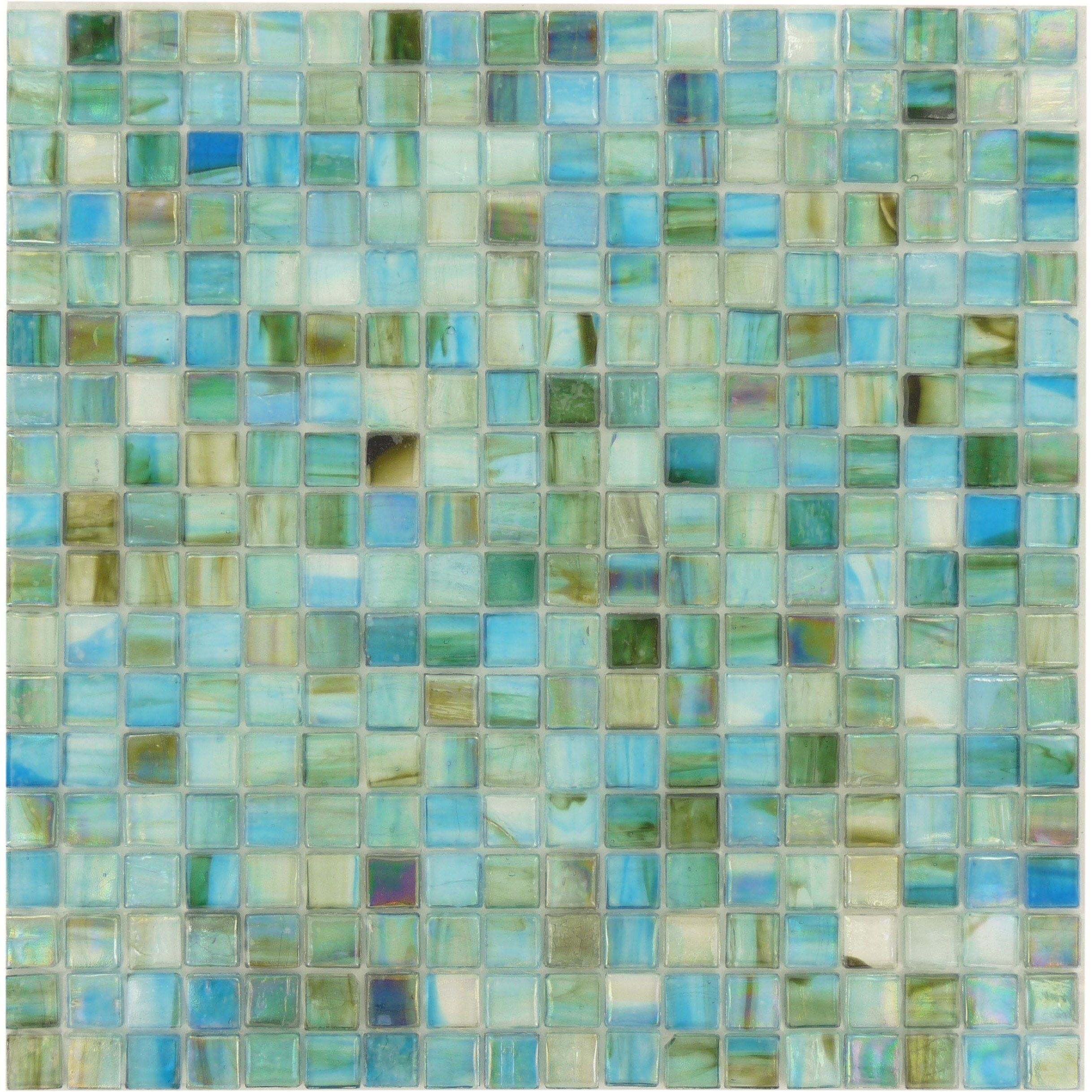 Turquoise 5/8\'\' x 5/8\'\' Glossy and Iridescent Glass Tile   Grout and ...