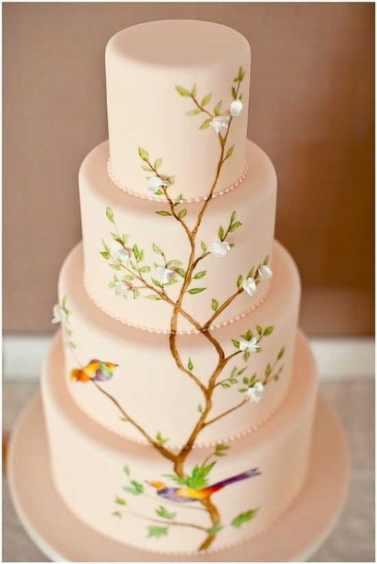 Wedding cake with tree, flower, bird