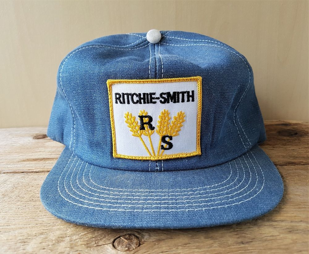 6ce682845fd57 Vtg 70s 80s RITCHIE-SMITH FEEDS Denim Snapback Hat Farmer Cap K Products  Canada  BaseballCap