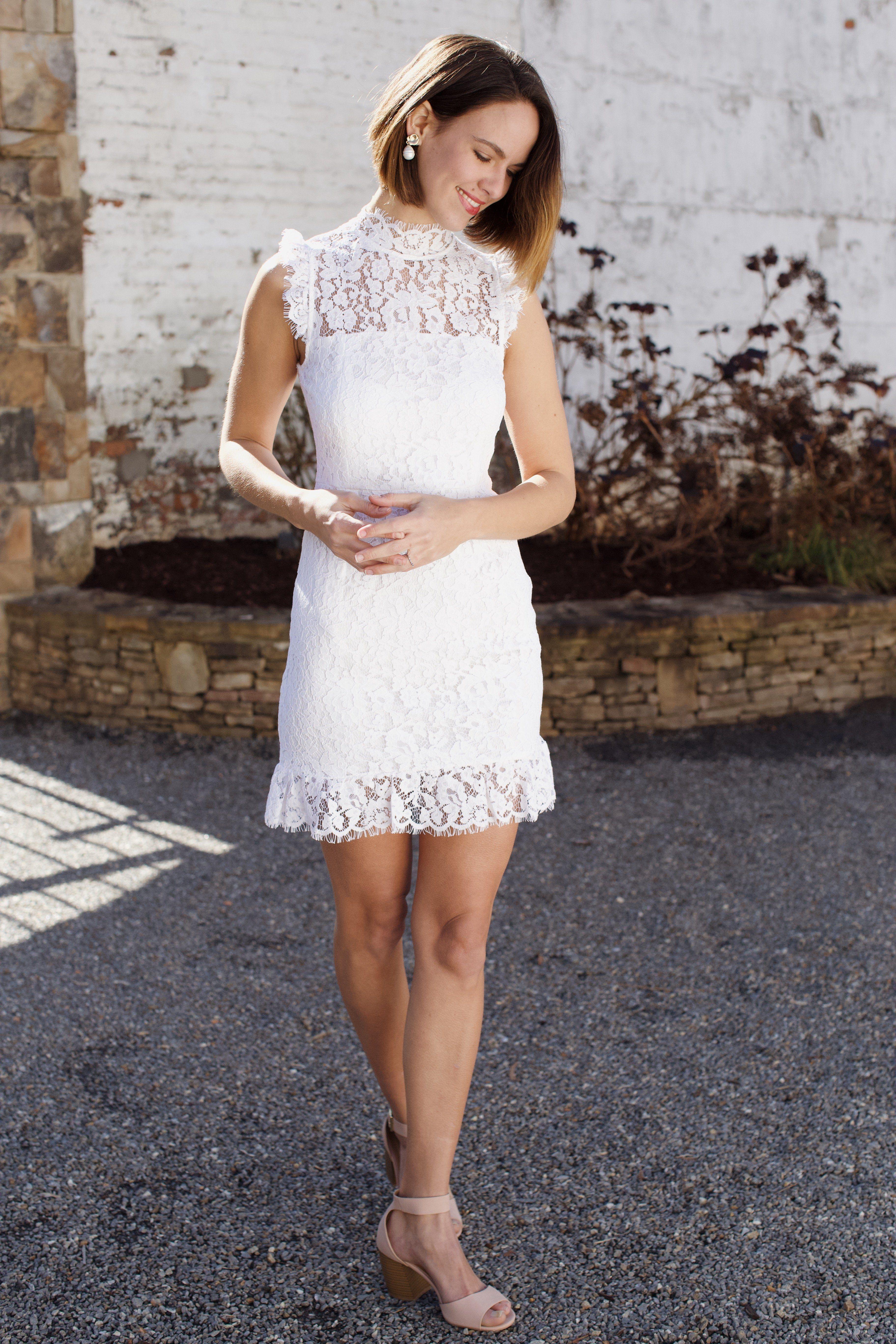 Hannah Lace High Neck Dress Women S White Formal Dresses North Main Clothing Company White Short Dress White Dresses Graduation Courthouse Wedding Dress [ 5472 x 3648 Pixel ]