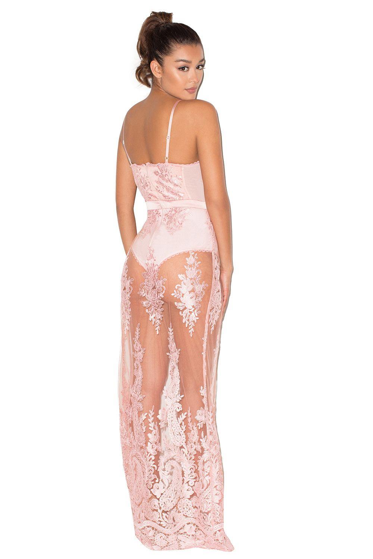 Lucia\' Maxi vestido ceñido de encaje transparente rosa | reina ...