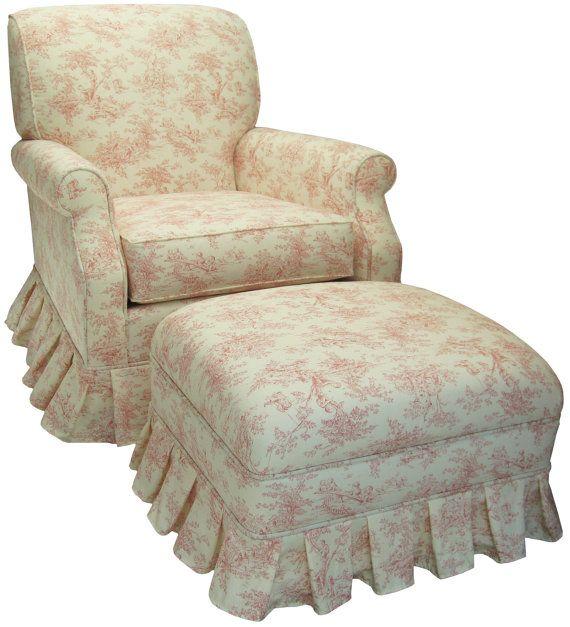 CHIC Pink Toile Upholstered Rocker Glider Chair Nursing ...