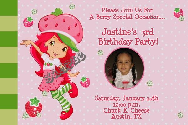 Strawberry Shortcake Birthday Invitations Get These Invitations