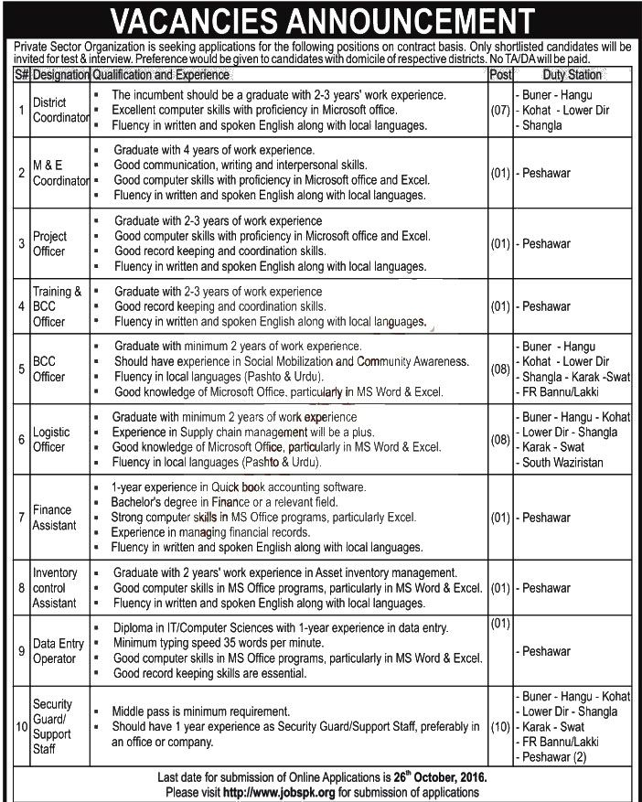 Private Sector Organization Jobs For Graduation Qualification Oct