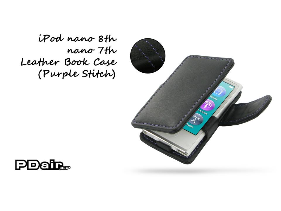 PDair iPod nano 8th / nano 7th Leather Book Case (Purple Stitch)