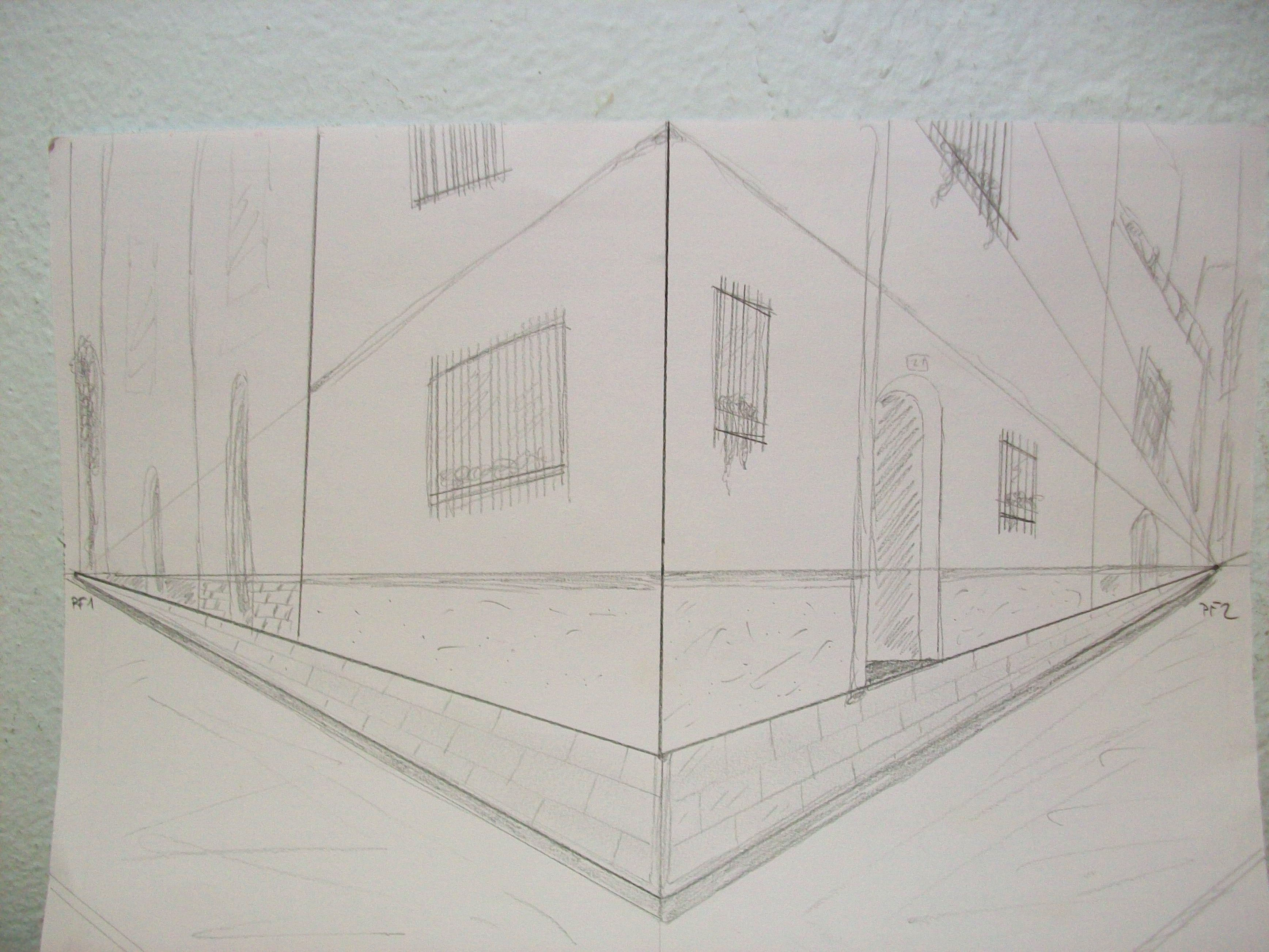 Ejercicio Nº 2 Perspectiva Conica Oblicua Con Dos Puntos De Fuga Dibujo Perspectiva Perspectiva Punto De Fuga