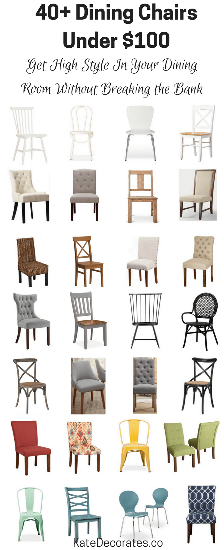 40 Affordable Dining Chairs Under 100 Kate Decorates Affordable Dining Kitchen Table Chairs Farmhouse Dining Chairs