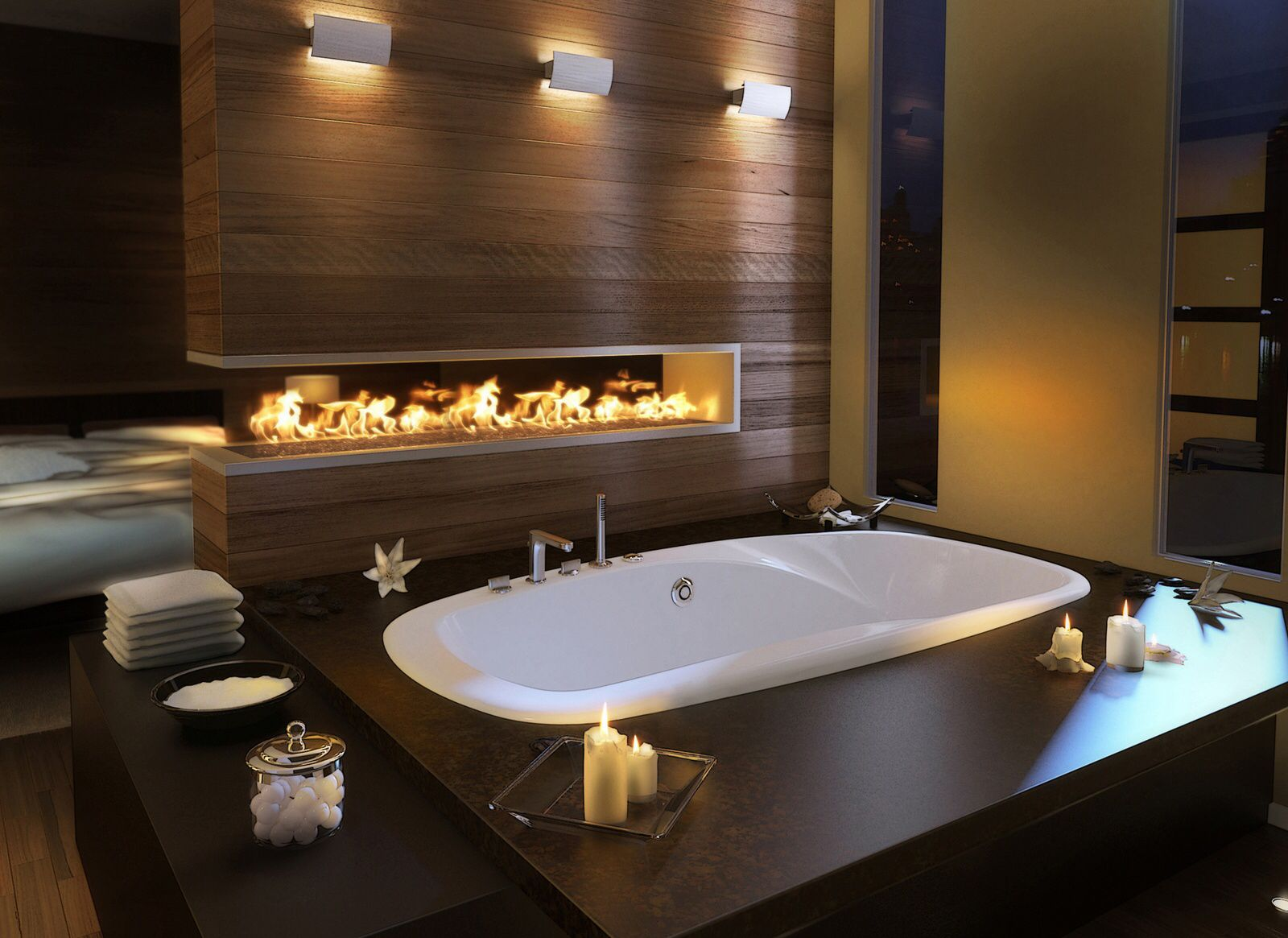 Love This Wall With Fire Relaxing Bathroom Bathroom Design Luxury Luxury Master Bathrooms