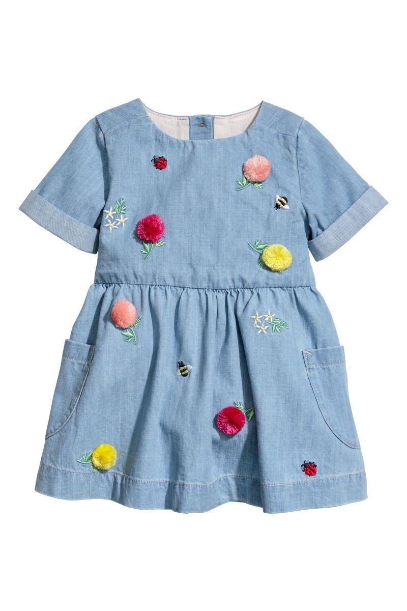 Embroidered denim dress  acfd36e304c