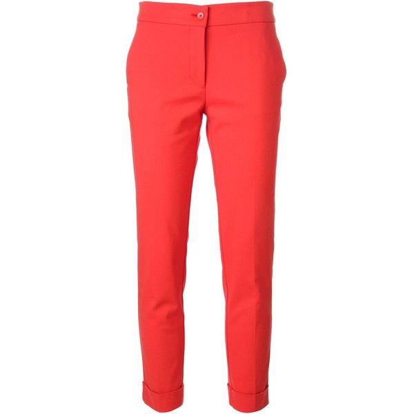 Etro Classic Cigarette Trousers (2 860 SEK) ❤ liked on Polyvore featuring pants, capris, bottoms, trousers, red, etro, cropped capri pants, cigarette trousers, red cigarette pants and cropped pants