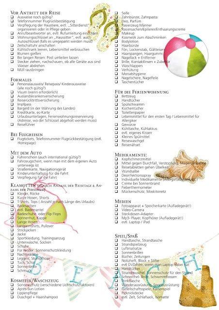urlaubsorganisation die checkliste f r den sommer holiday urlaub urlaub checkliste und. Black Bedroom Furniture Sets. Home Design Ideas