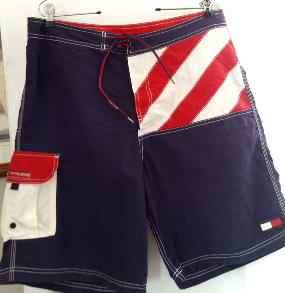 Vintage Tommy Hilfiger Stars & Stripes Flag Swim Trunks Board Shorts Mens Sz L. #TommyHilfiger #BoardShorts