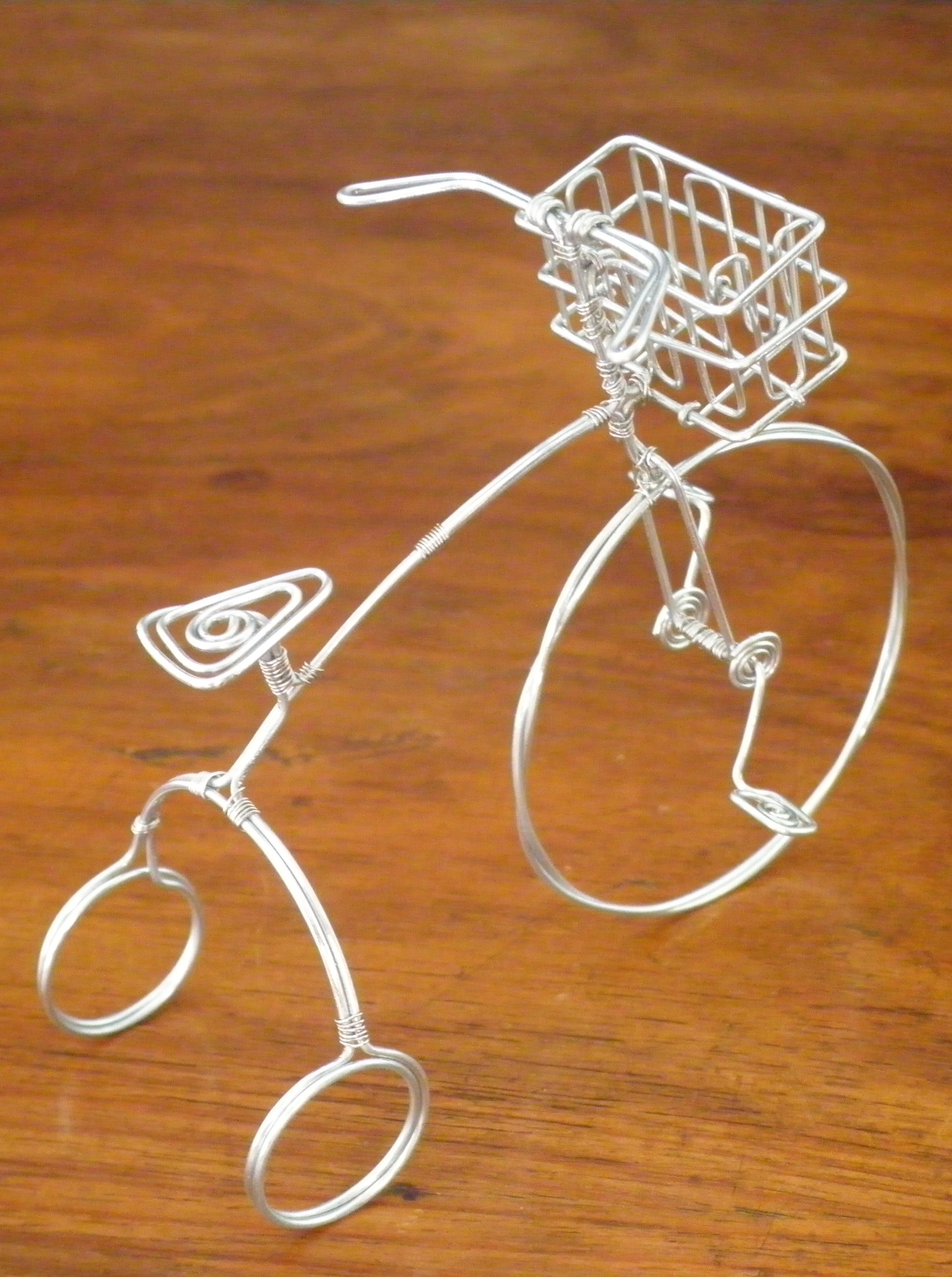 desk accessory miniature wire tricycle miniature fairy tricycle wire tree sculpture sculpture art [ 2398 x 3216 Pixel ]