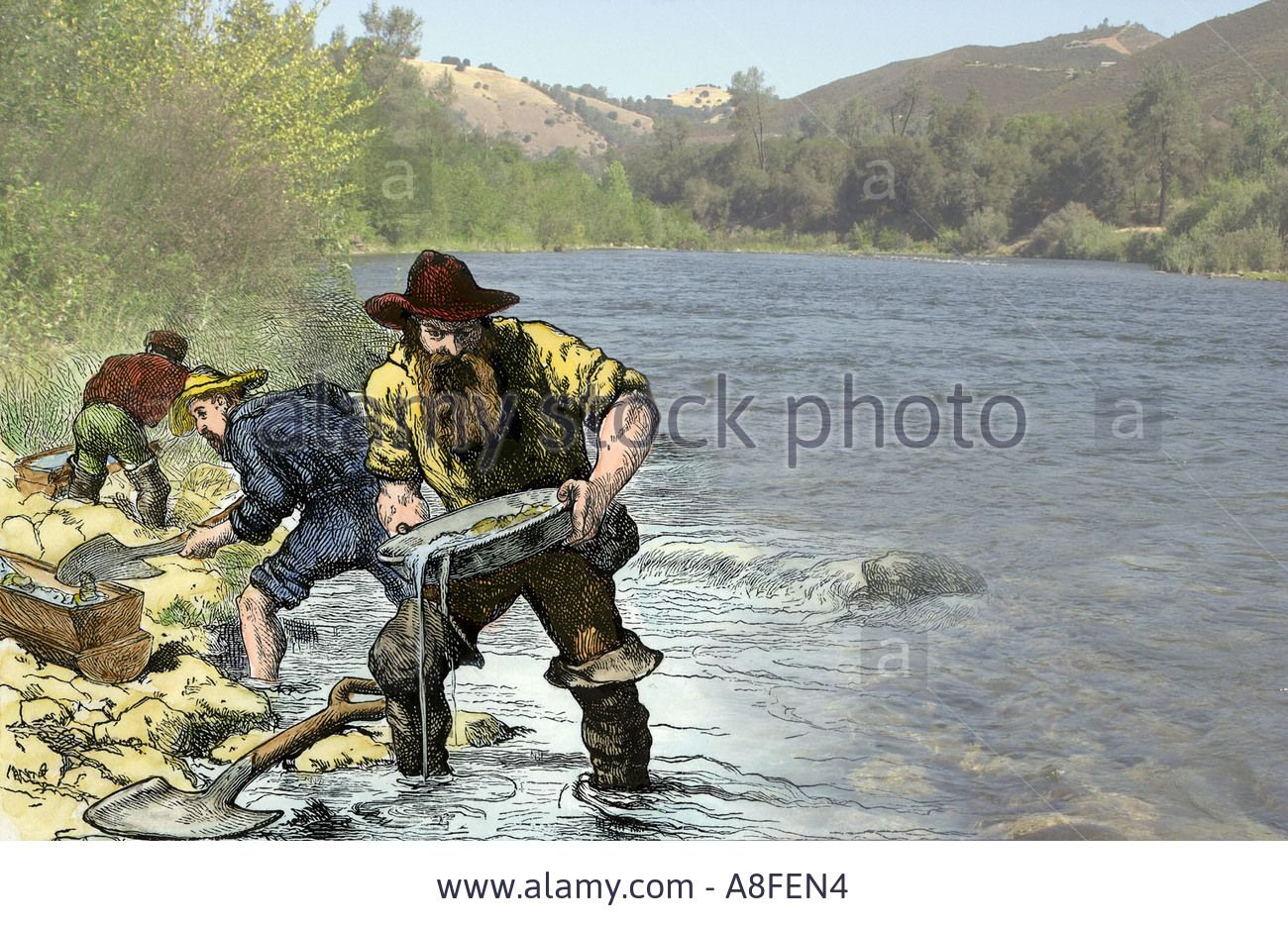 prospector panning for gold near sutters mill in the american