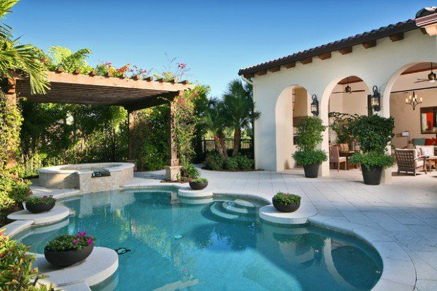 Landscaping Backyard Oasis- 18 Pool Design Ideas in Mediterranean Style #backyardoasis