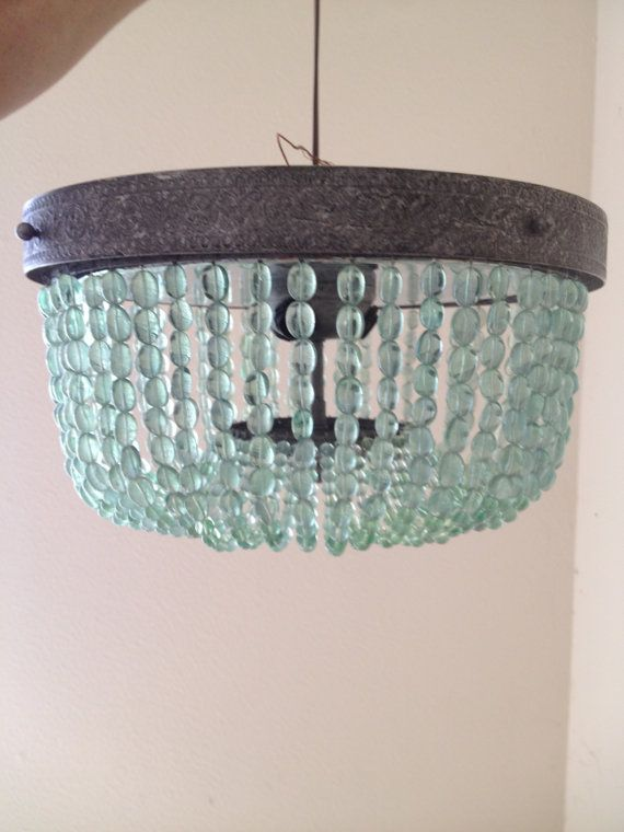 blue bead chandelier flush mount Turquoise Green Vintage